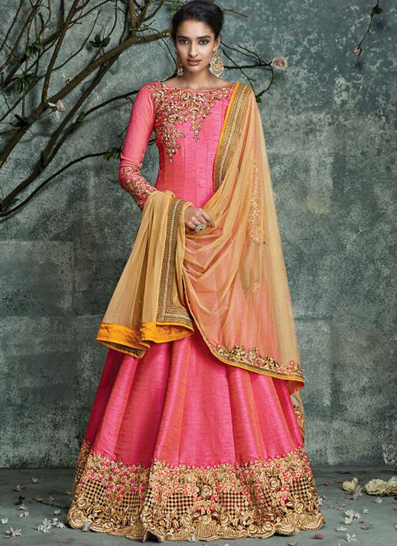 Buy Pink color pure silk party wear salwar kameez in UK, USA and ...