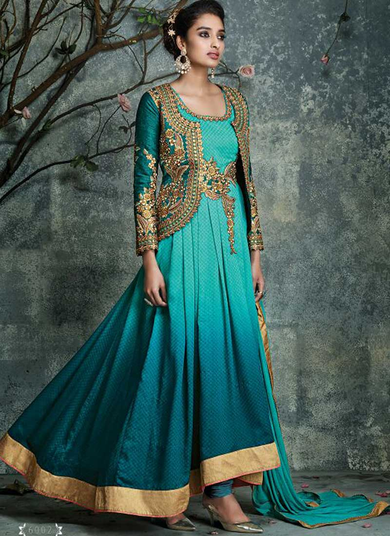 BuySky blue and teal color georgette with silk party wear anarkali ...