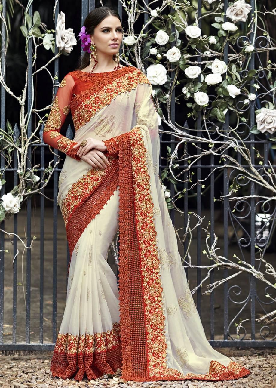 White Saree Tamanna In Veeram: White Colored Embroidered Chiffon Wedding Saree 1029