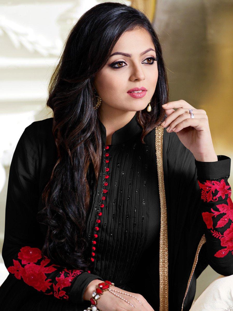 Buy Drashti Dhami black color georgette anarkali kameez in ...