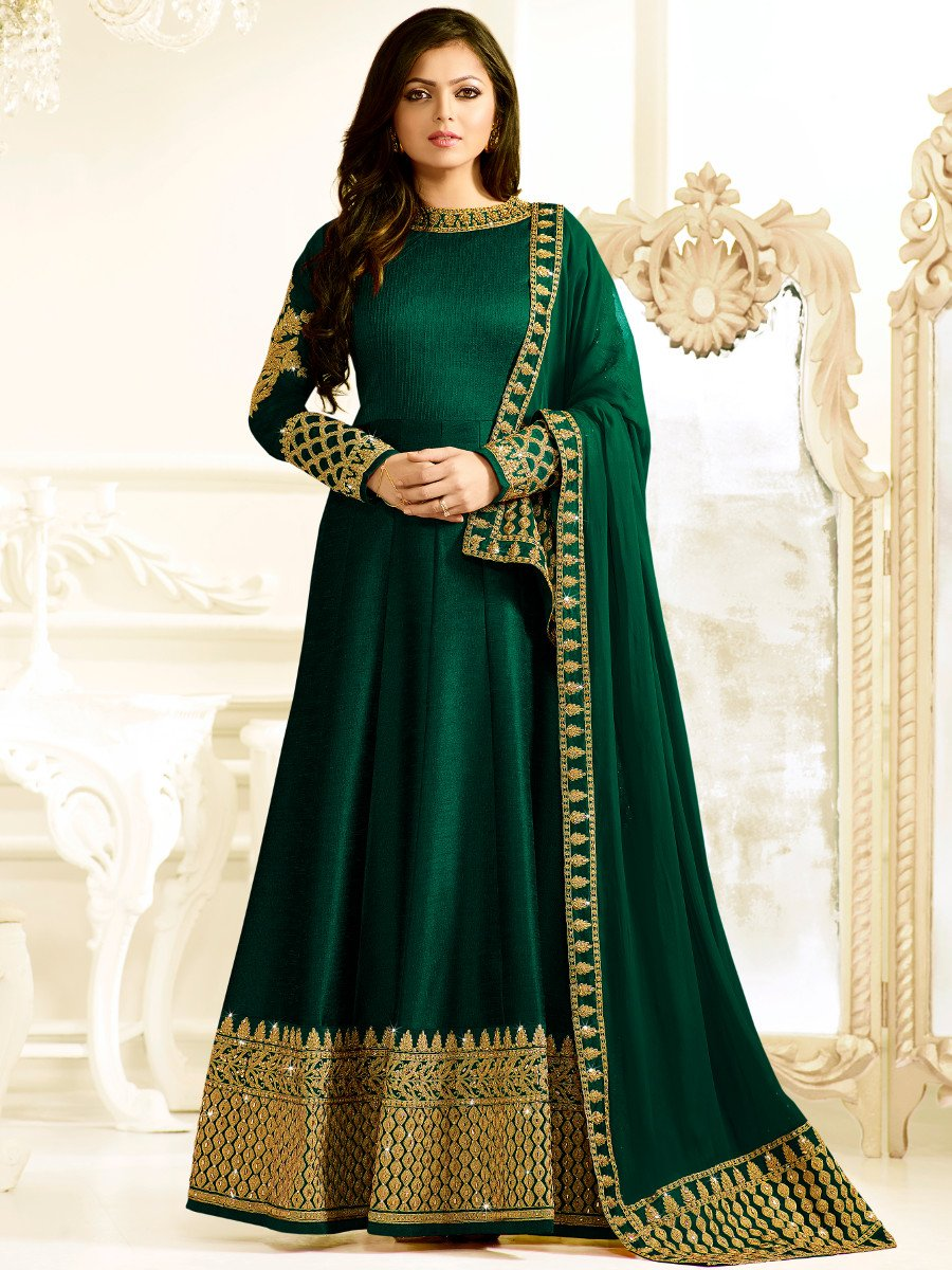 Buy Drashti Dhami bottle green color silk party wear ...