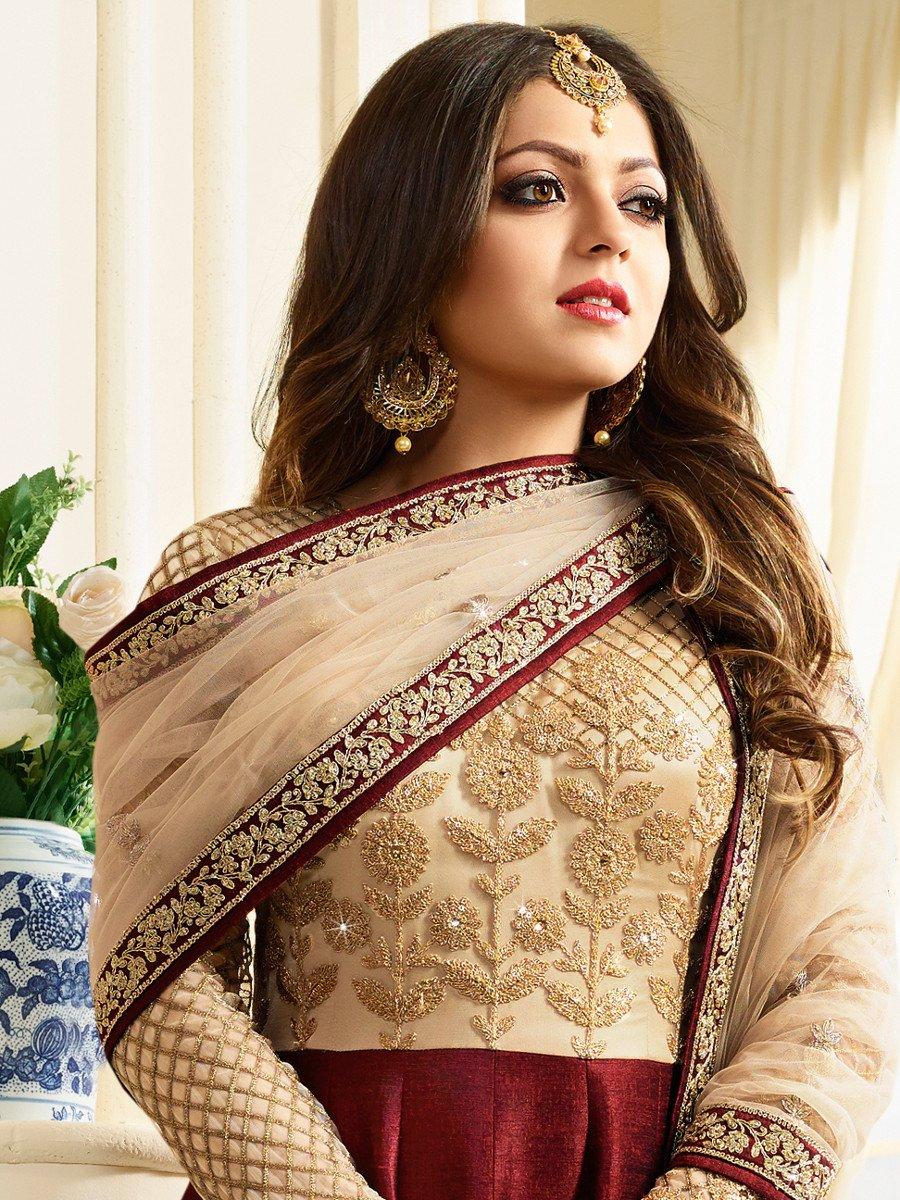 Buy Drashti Dhami Maroon Color Silk Party Wear Anarkali