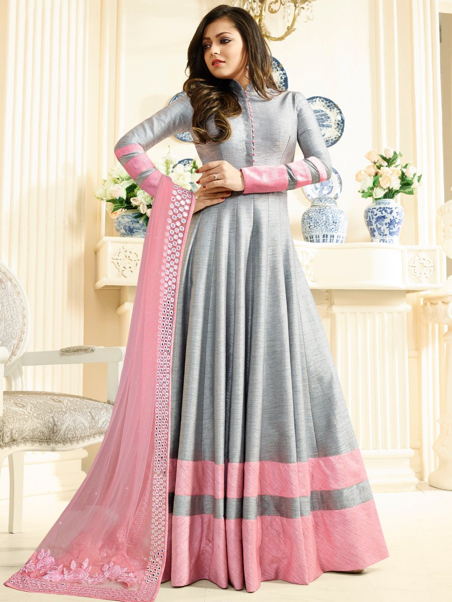Buy Drashti Dhami Grey Color Silk Party Wear Anarkali