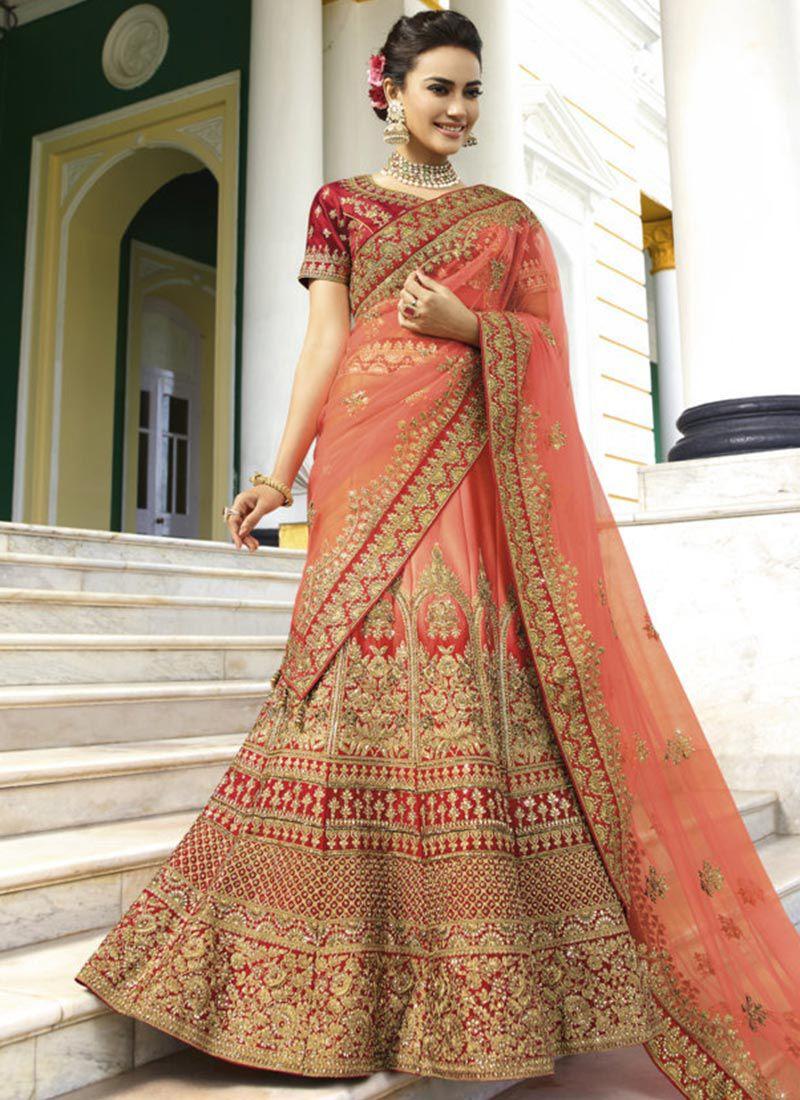 64452d7a85 Peach heavy embroidered Indian wedding lehenga choli 13175
