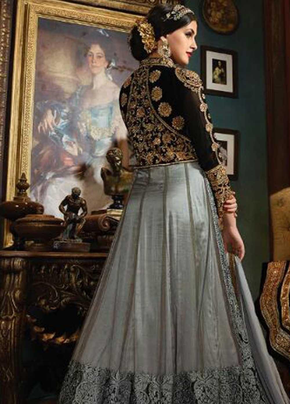Buy Grey and black color net and velvet wedding wear anarkali in UK ...