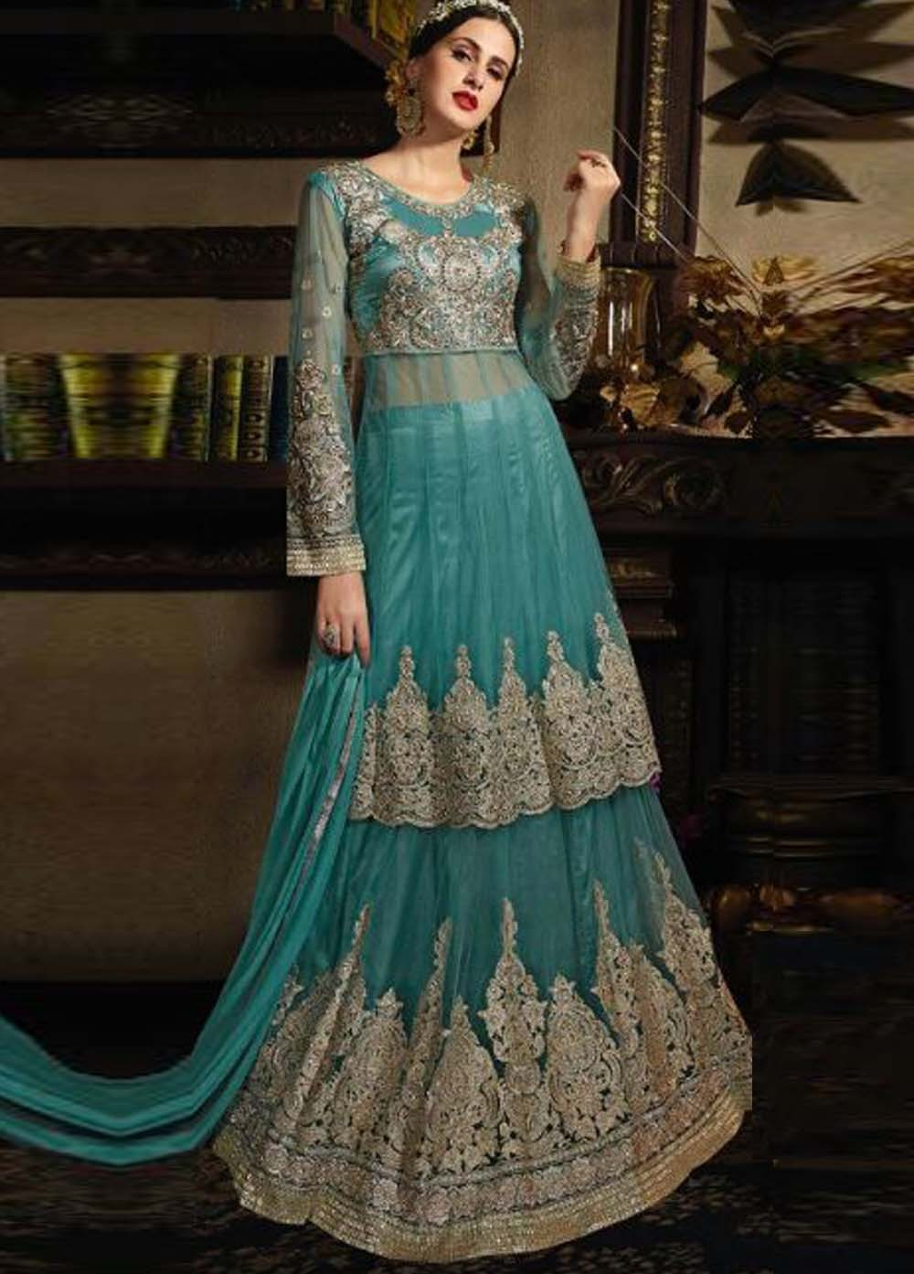 Buy Sea green color netted wedding wear palazzo kameez in UK, USA ...