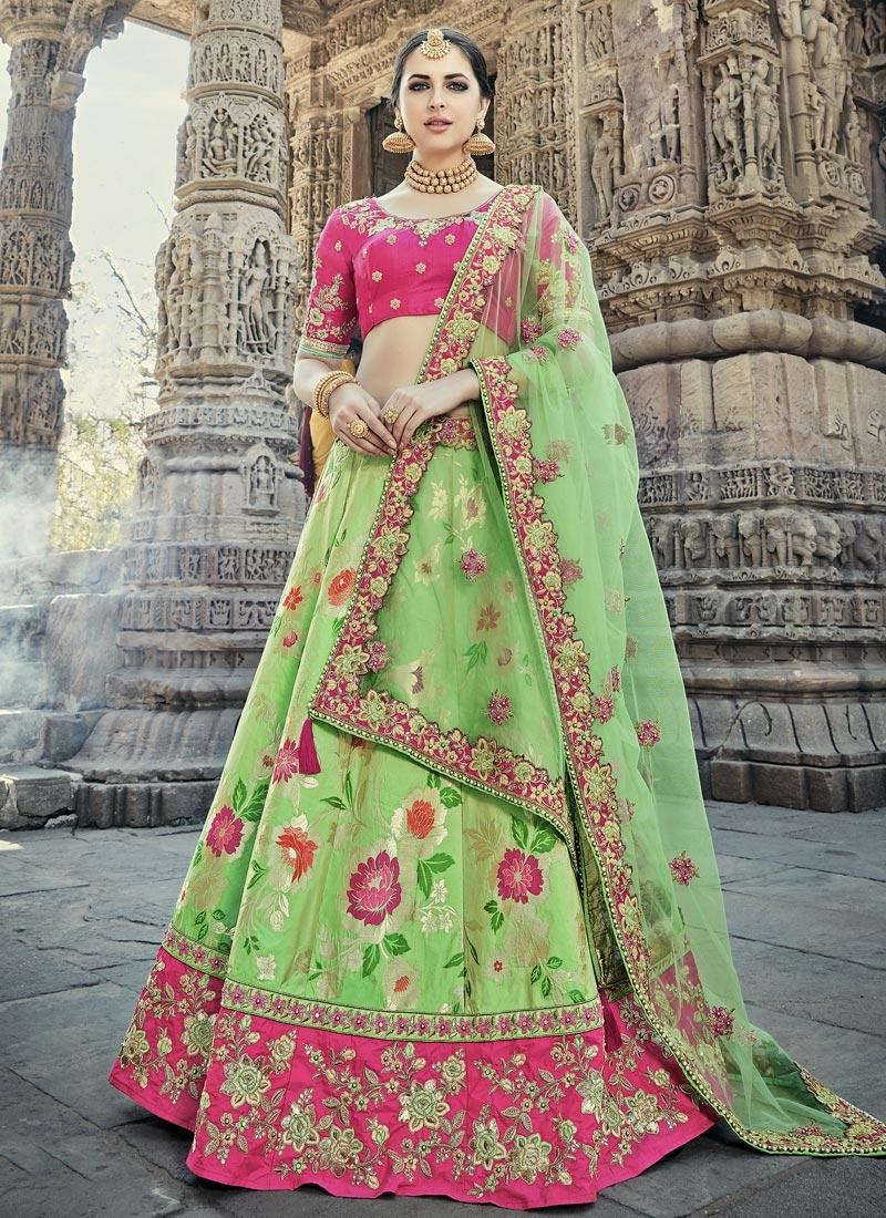 Buy Pista Green And Pink Wedding Lehenga In Uk Usa And Canada