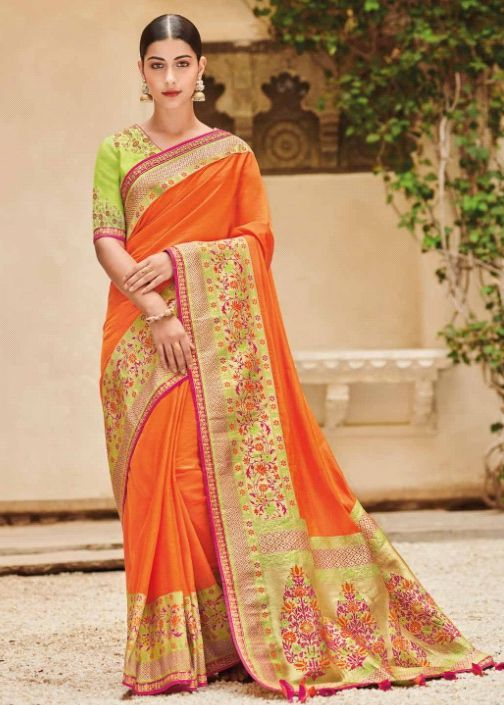 3e680b3523 Orange banarasi weaving silk Indian wedding saree 1012