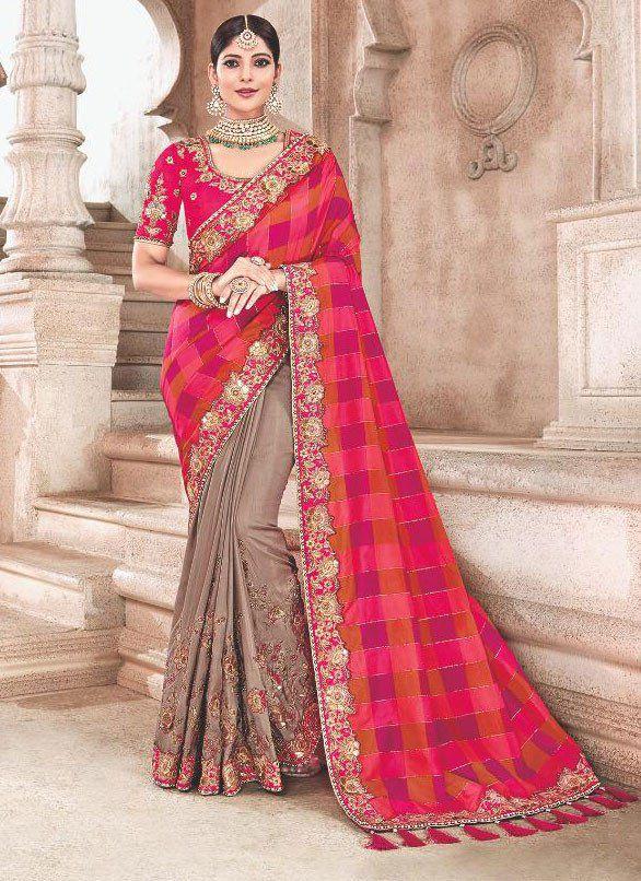 e397ee6b93 Please upgrade to full version of Magic Zoom Plus™. Pink beige fancy silk  Indian wedding saree 2301.