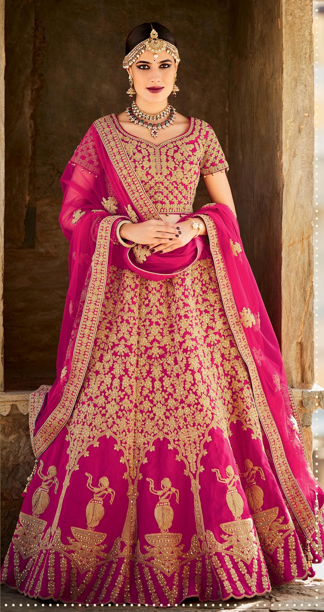 Buy Rani color silk bridal lehenga choli in UK, USA and Canada