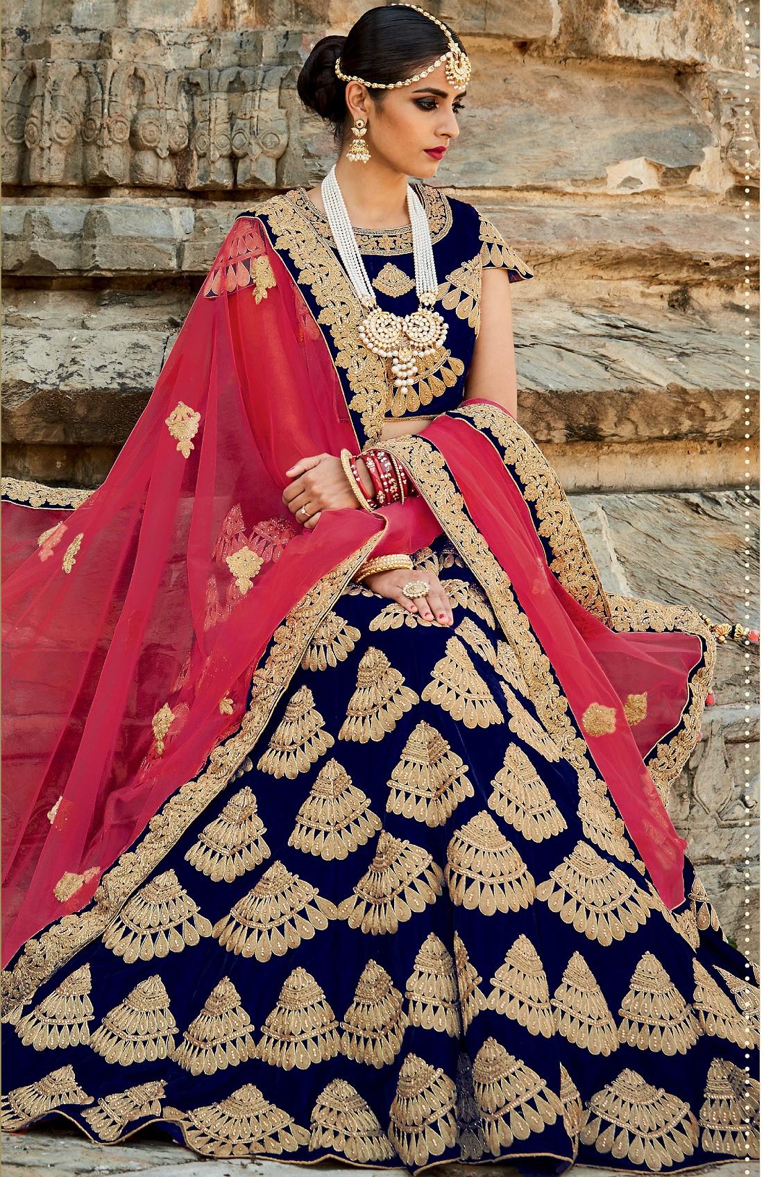 5fb3b11d65e209 Buy Navy blue and pink color velvet bridal lehenga choli in UK