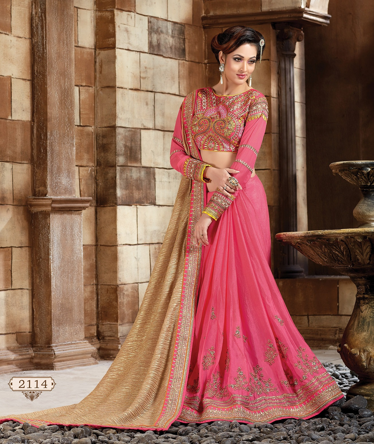 c444b0df47 Buy Beige and Pink Faux georgette and Art silk Designer Saree in USA ...