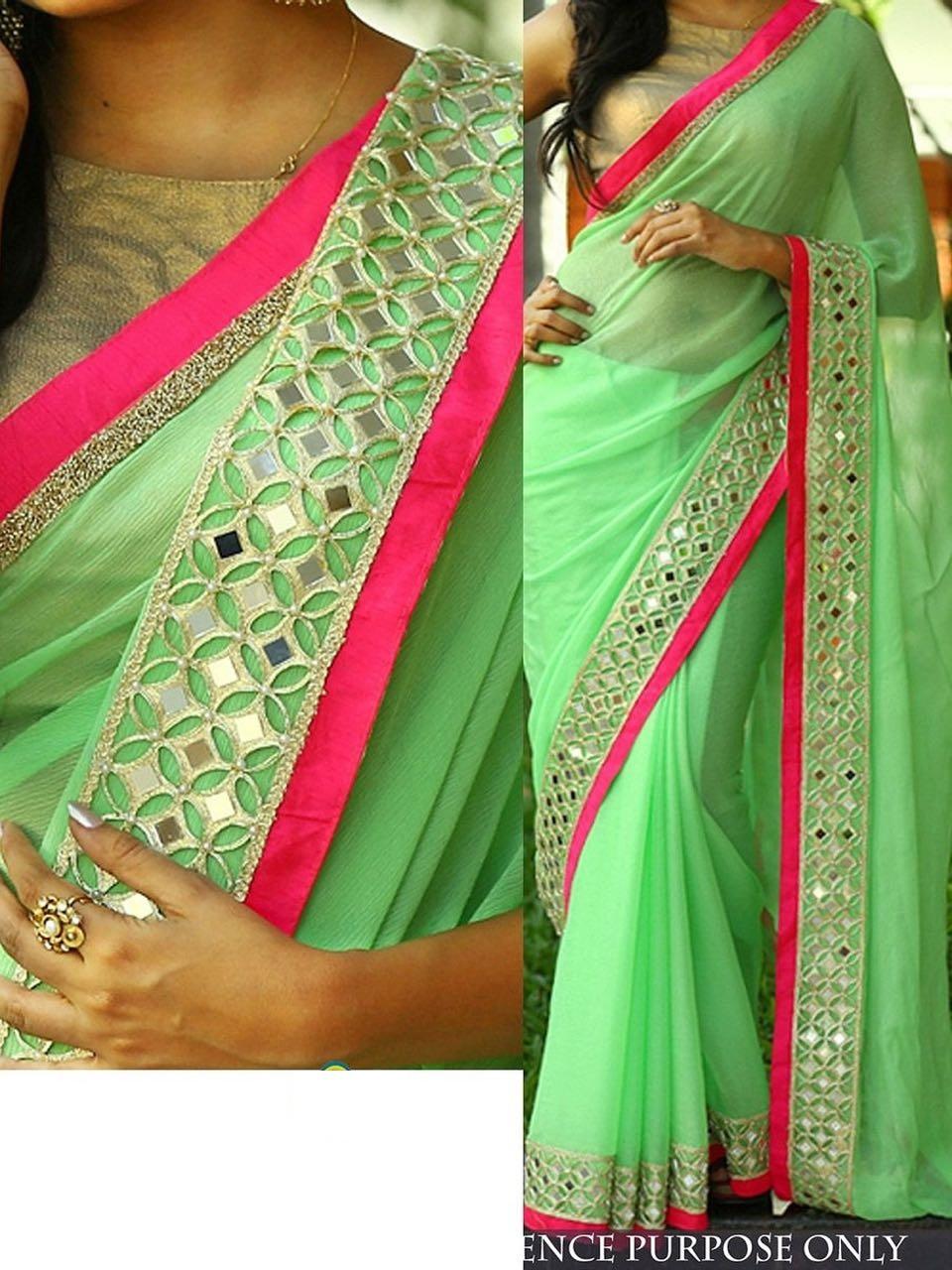 Buy Pista Green Color Nylon Georgette Designer Party Wear