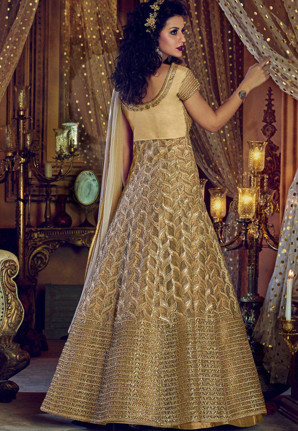 d7ebc9b2d1 Buy Chiku color Net and Banglori silk party wear Lehenga kameez in ...
