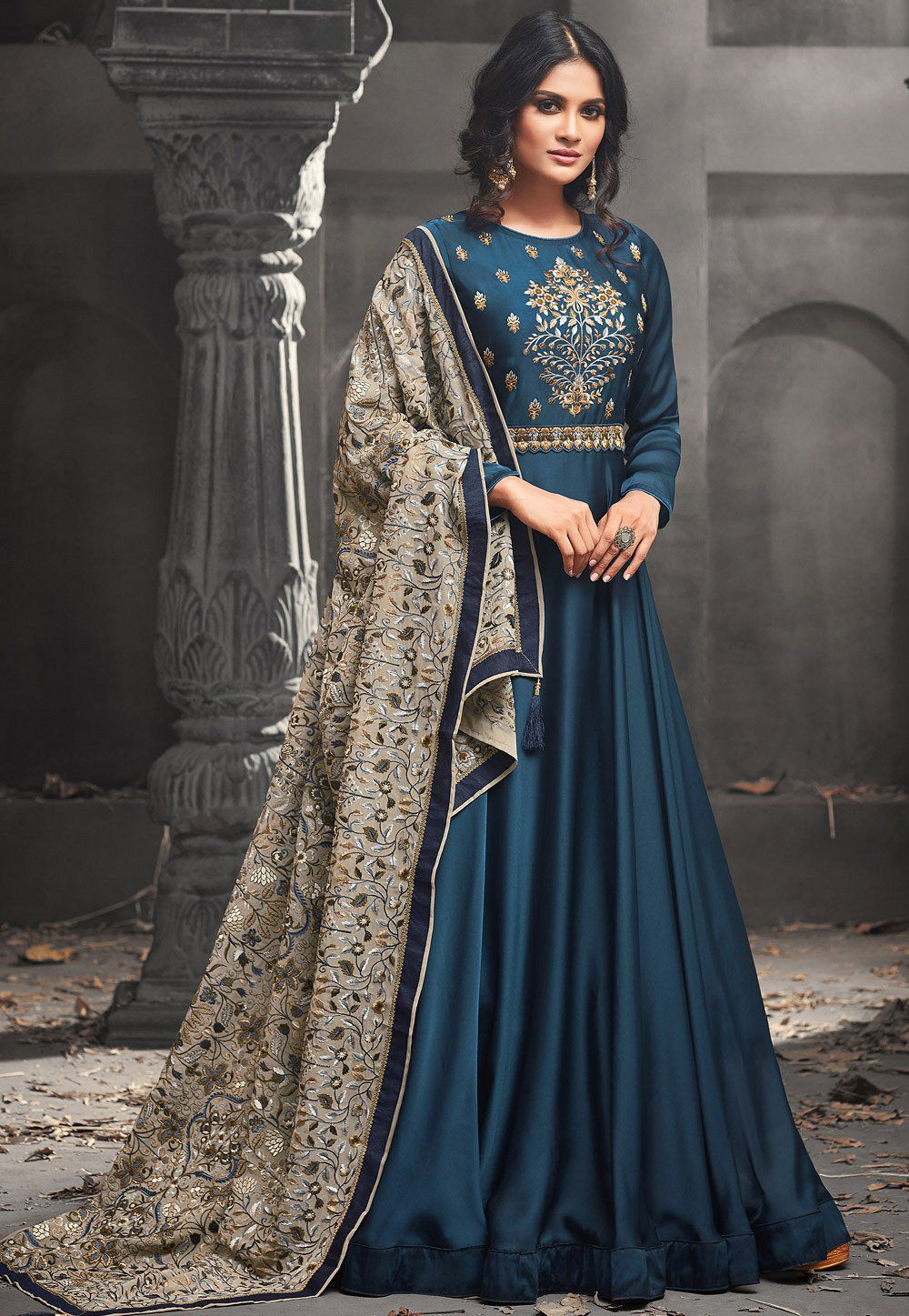 2f8e6aeff9 Buy Blue color Mudal SIlk party wear anarkali kameez in UK, USA and ...
