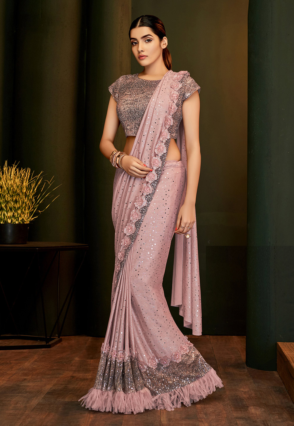 Pink Lycra Frilled Party Wear Saree 5805