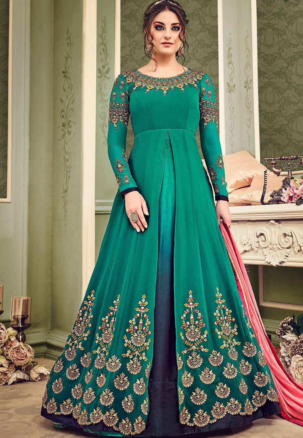 Buy Bottle green and blue shaded geirgette wedding anarkali suit in ...
