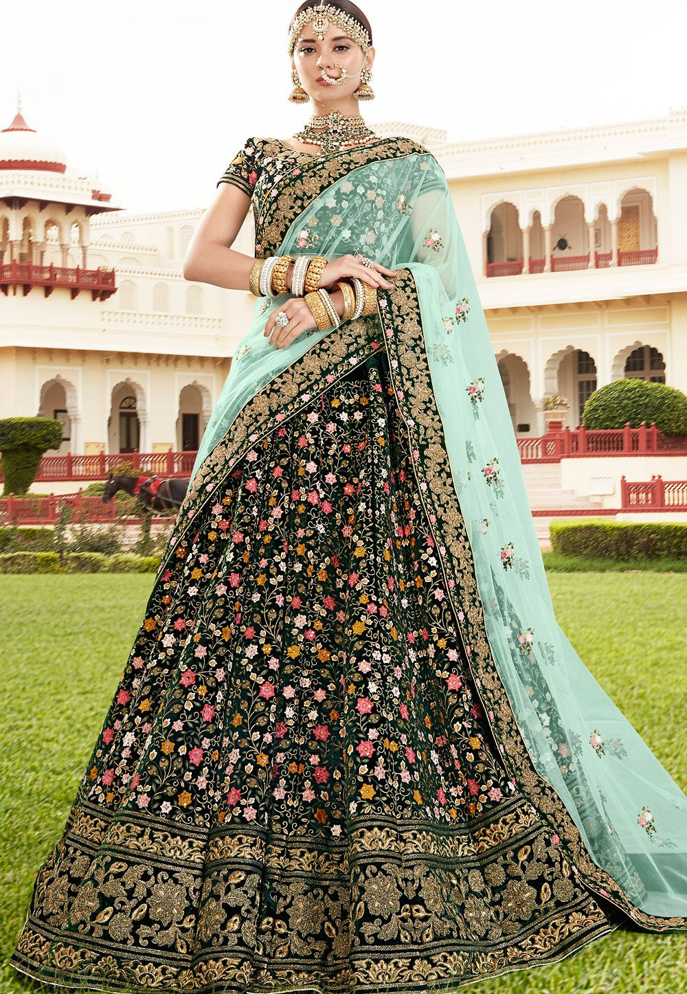 Buy Bottle Green Velvet Wedding Lehenga In Uk Usa And Canada