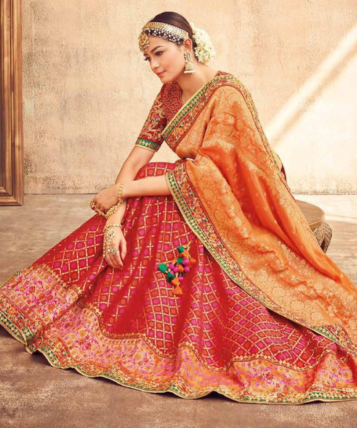 3e4df11d18 Buy Red and Orange silk Indian wedding lehenga in UK, USA and Canada