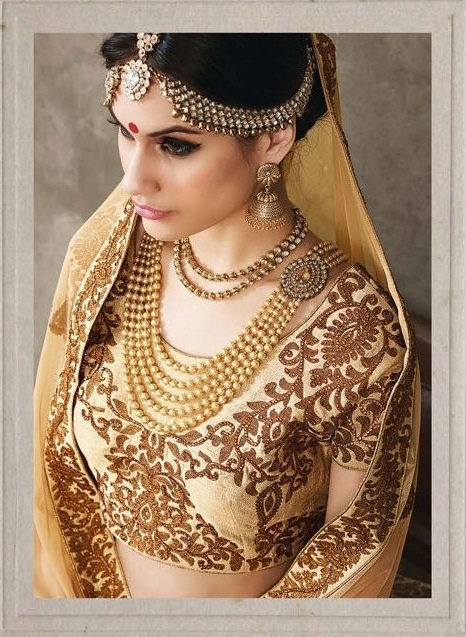 974c03367e Buy Cream color pure silk bridal lehenga choli in UK, USA and Canada