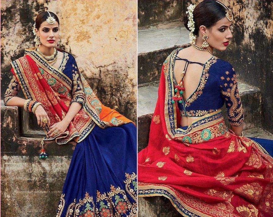 Buyroyal Blue And Orange Jacquard Silk Indian Bridal Saree In Uk Usa And Canada