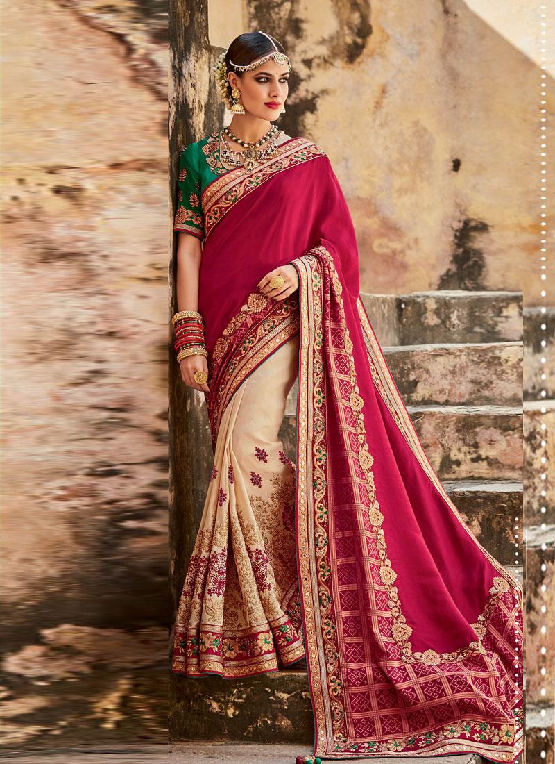 BuyBeige and maroon panetar Indian wedding wear saree in UK, USA and ...