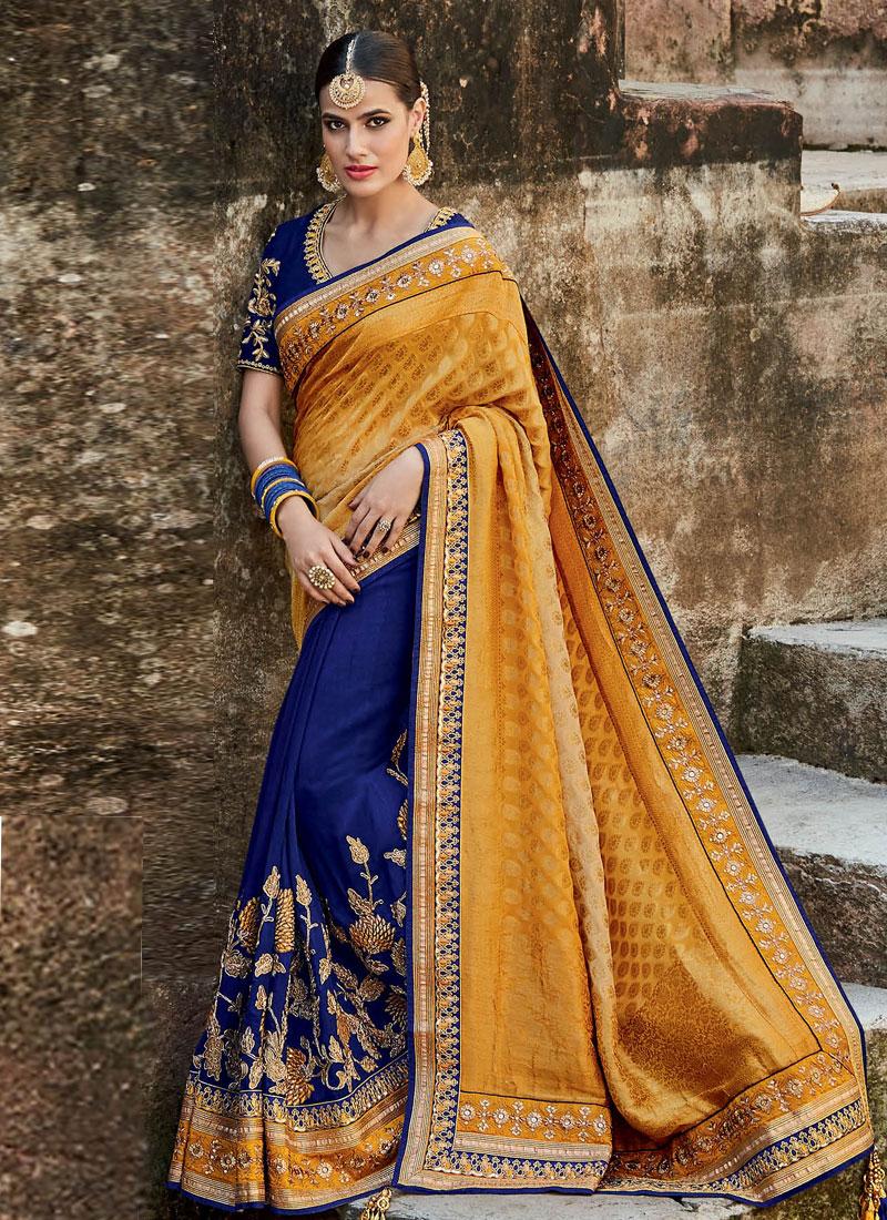 Buy Royal Blue And Yellow Silk Indian Bridal Saree In Uk Usa And Canada