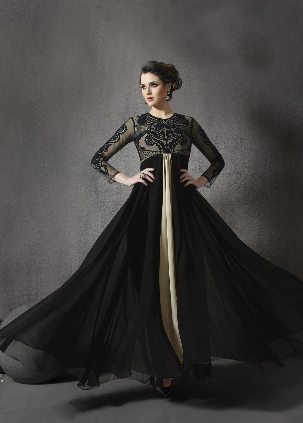 4110248130 Black and beige color georgette and net party wear anarkali suit