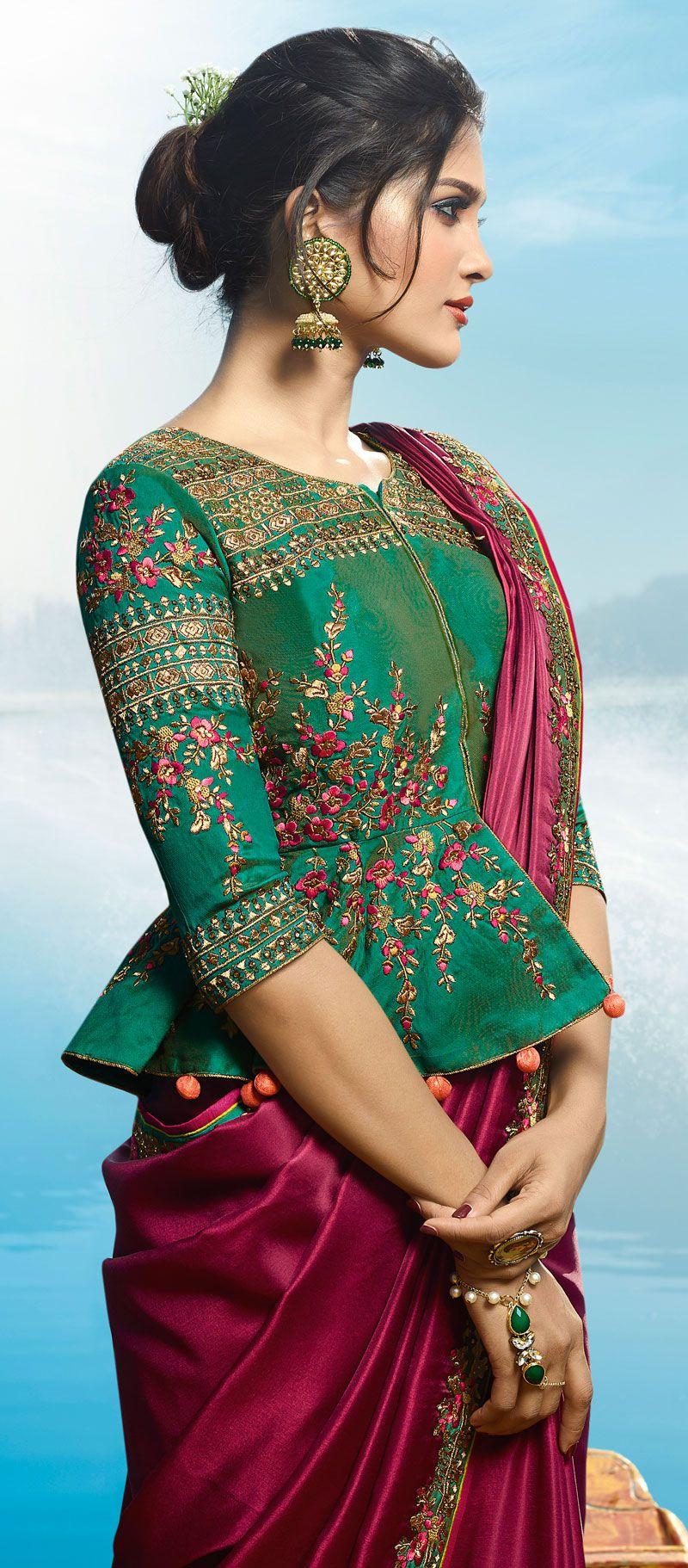 Trendy Indian Wedding Party Wear Ladies Designer Anarkali: Buy Magenta Color Barfi Silk Designer Party Wear Saree In