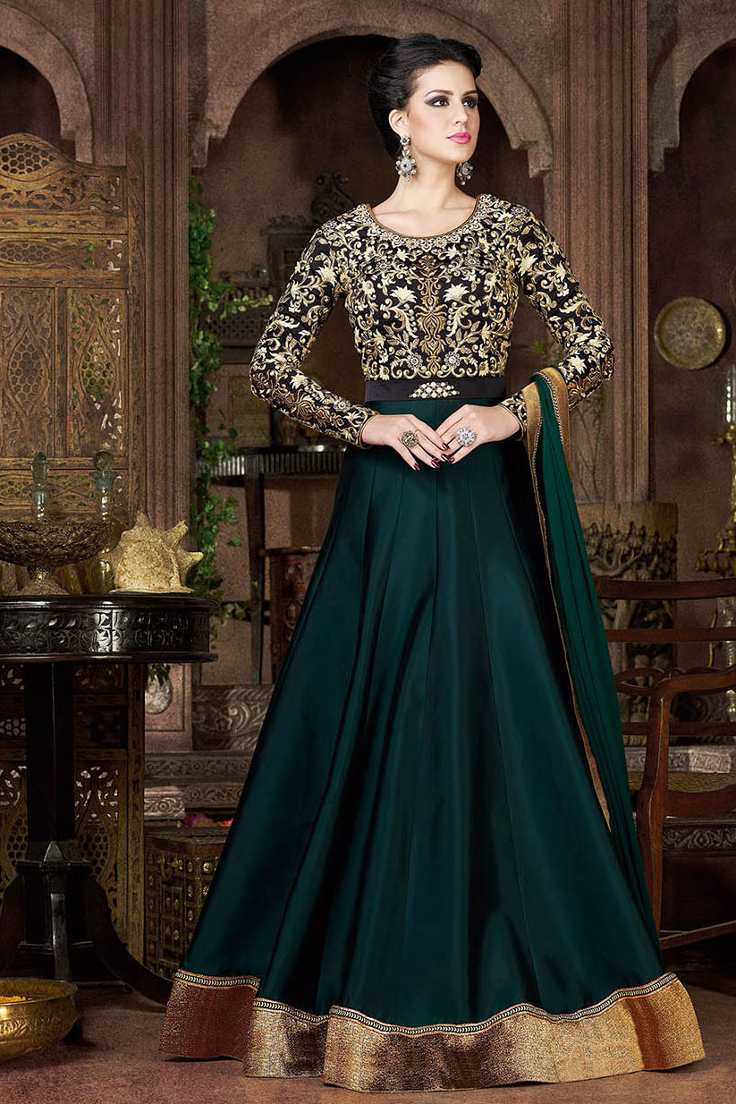 Buy Trekking green and black color tapheta silk party wear ...
