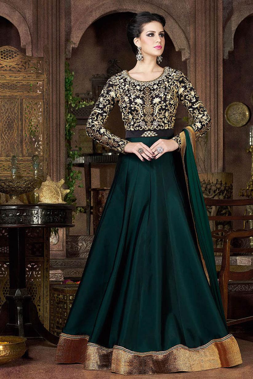 Buy Trekking green and black color tapheta silk party wear ...