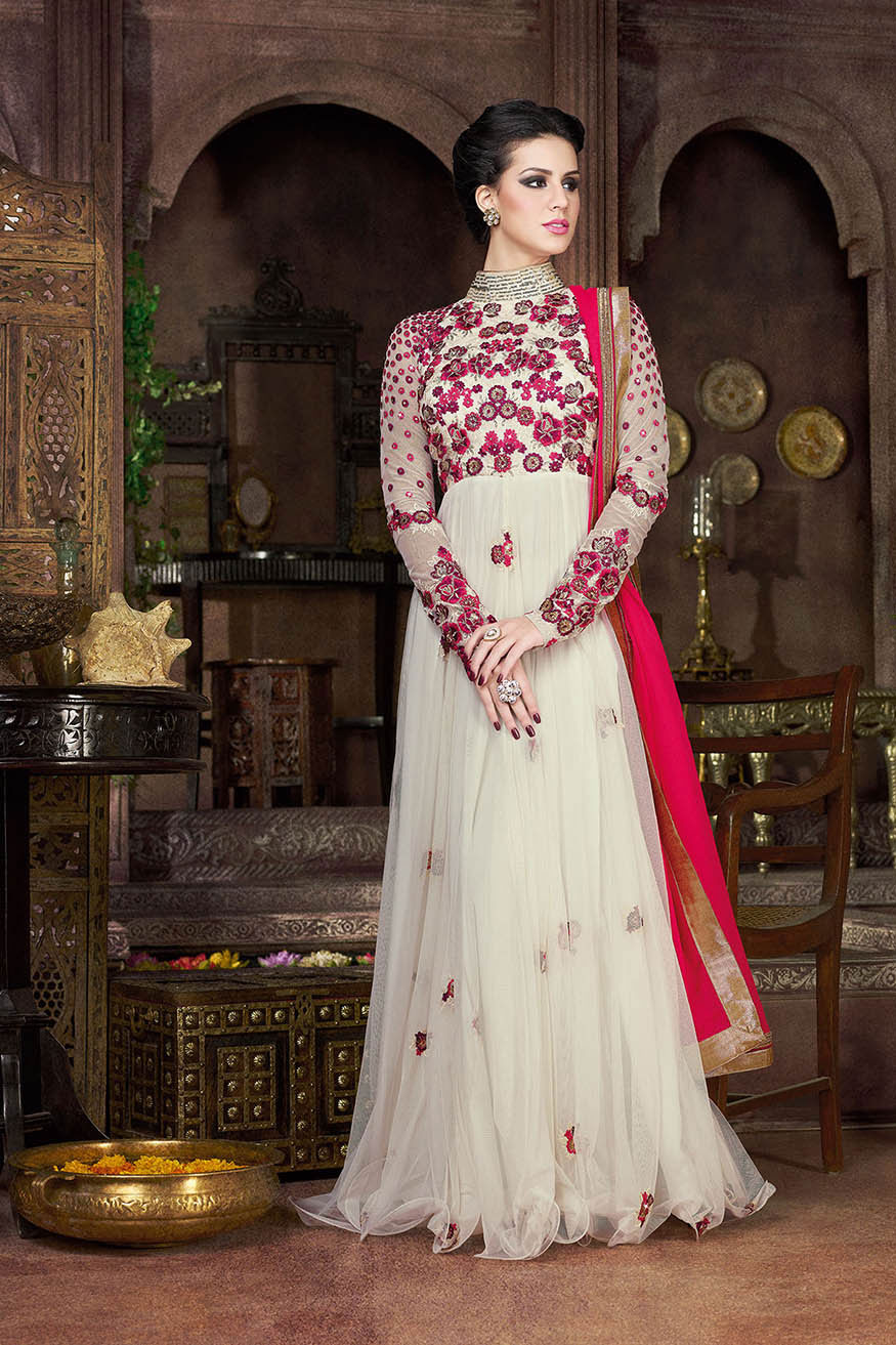 Buy White and fuschia color net gown style party wear anarkali ...
