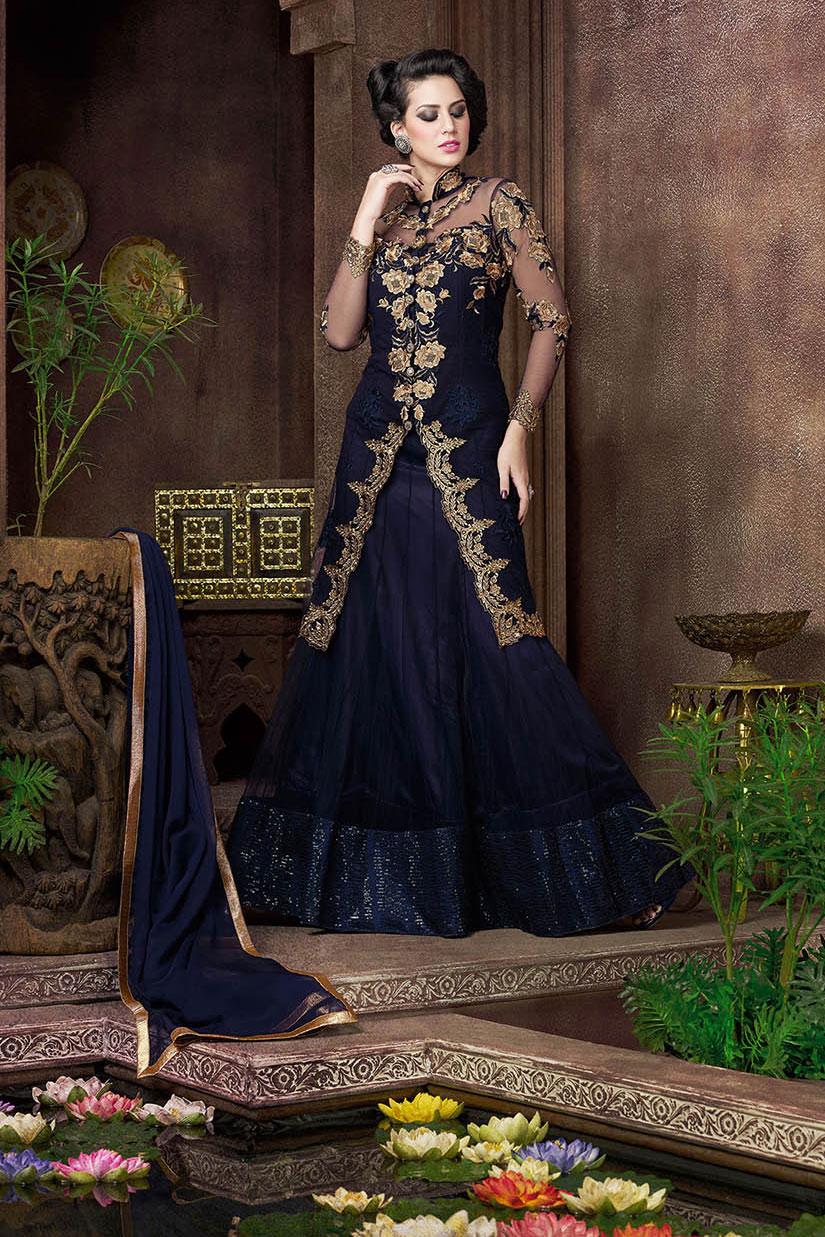 c0faa4a903 Buy Navy blue color net jacket style party wear lehenga choli in UK ...