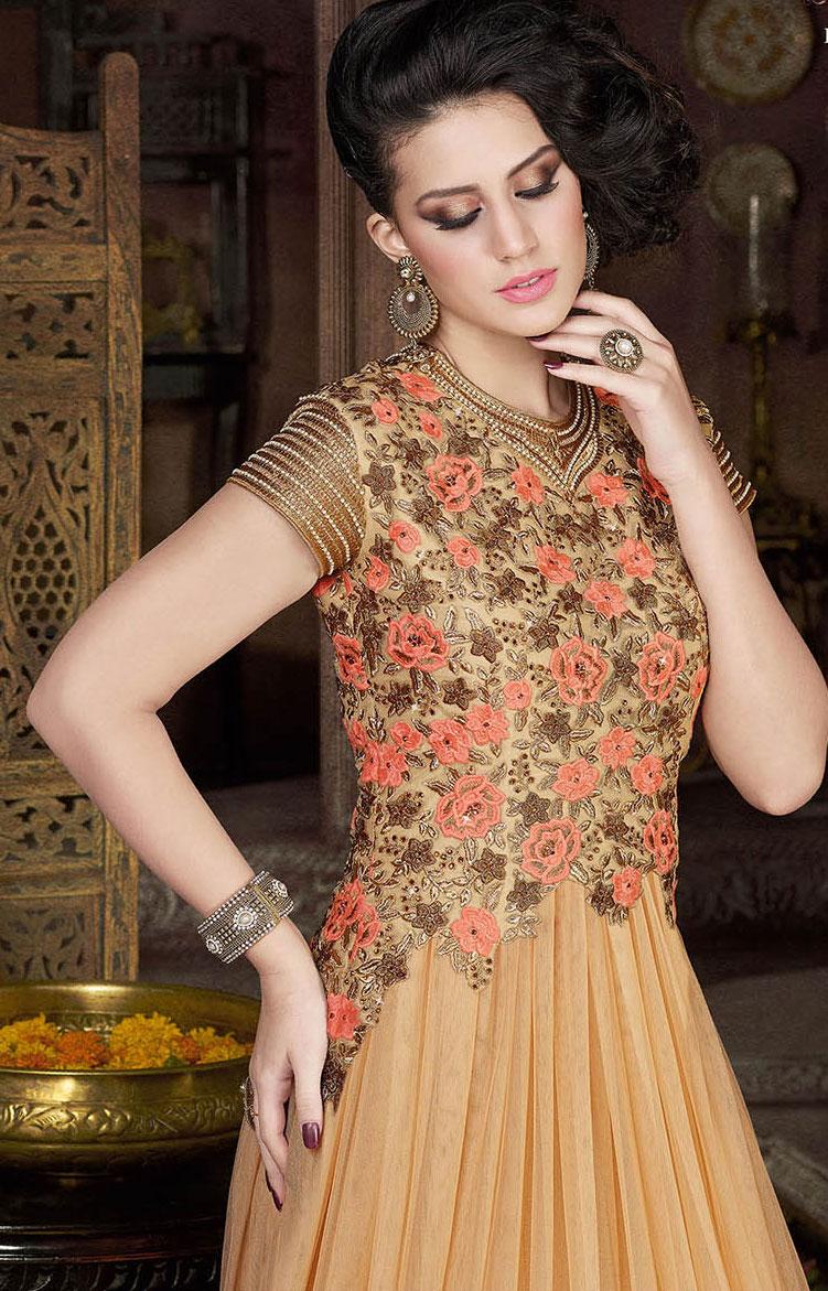 17e70f3e7 Buy Beige color net gown style party wear anarkali salwar kameez in ...