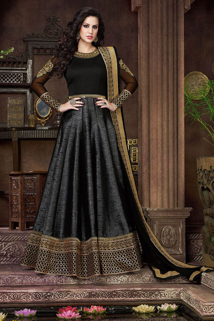 3f79471842 Buy Black color silk kali work party wear anarkali salwar kameez in UK ...
