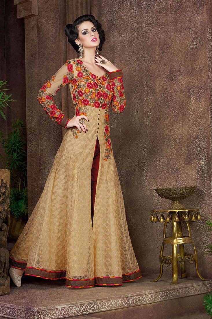 Buy Beige Color Net Party Wear Anarkali Salwar Kameez In