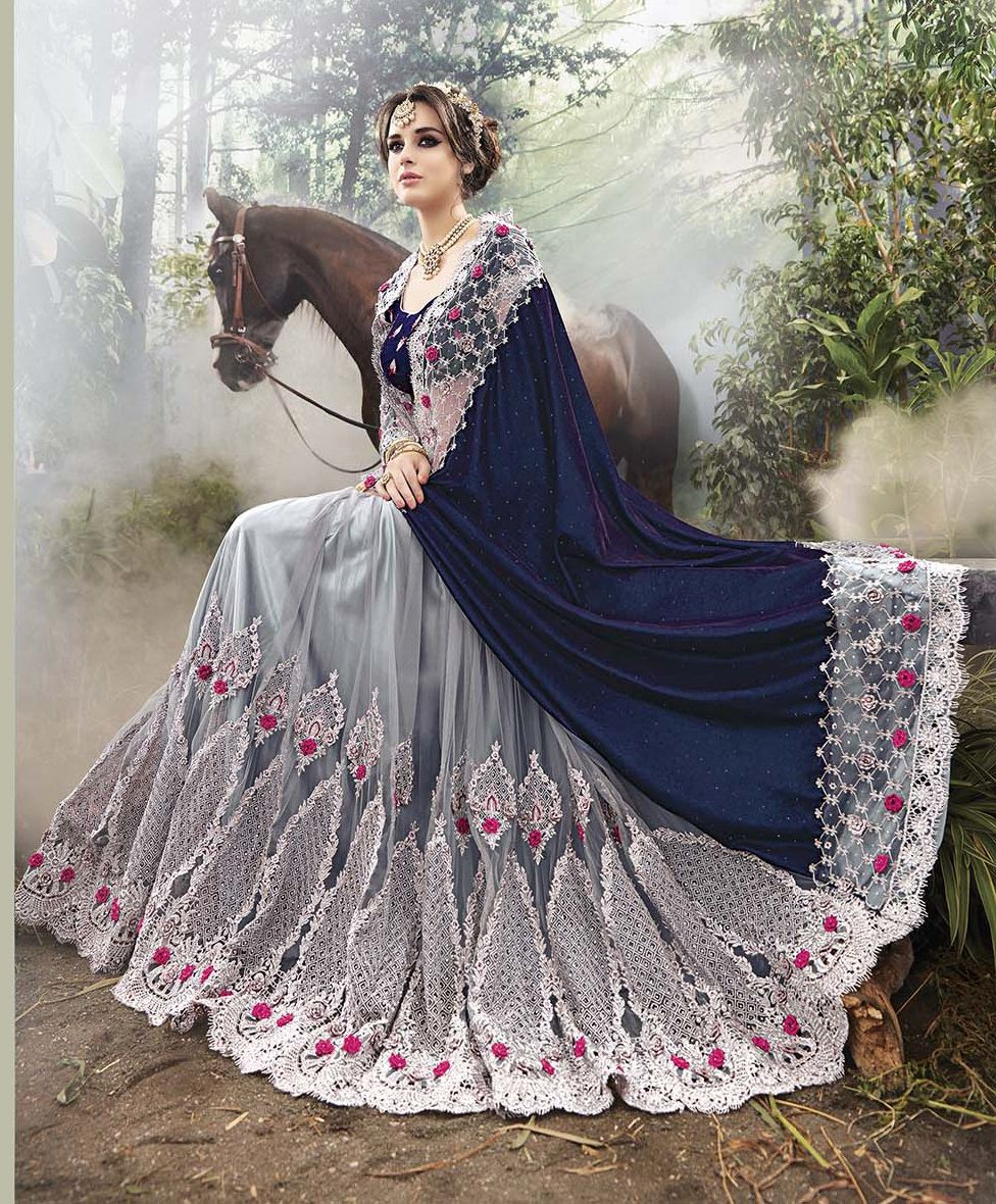 Party-Wear-Blue-Grey-Heavy-Work-Saree