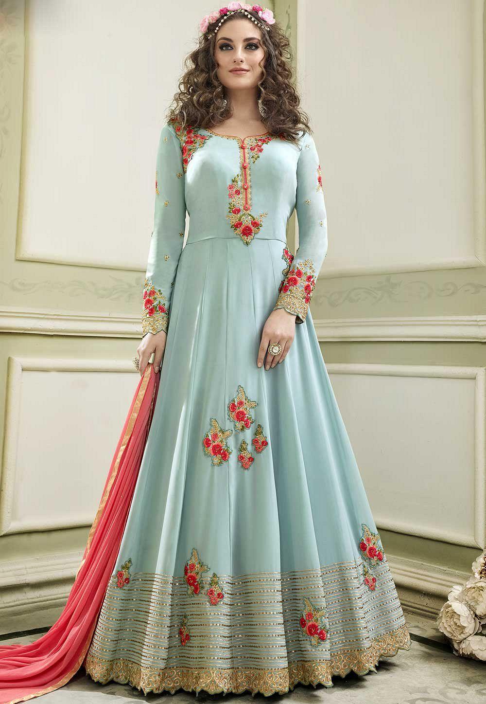 Buy Sky blue faux georgette color wedding anarkali suit in UK, USA ...