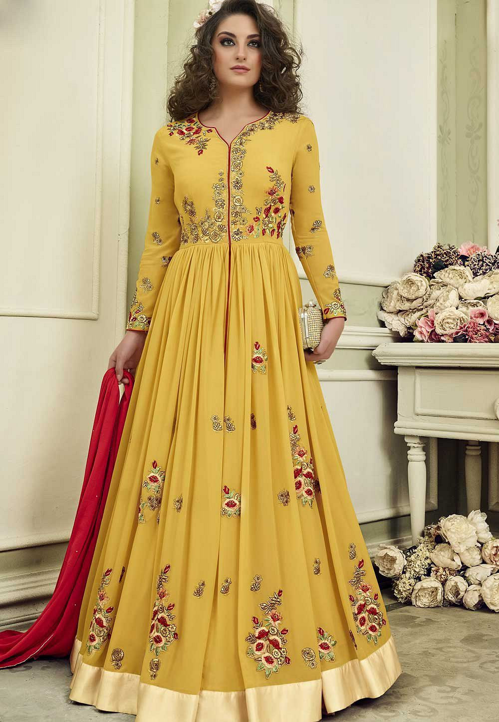 36a6461de5 Buy Yellow color wedding anarkali suit in UK, USA and Canada
