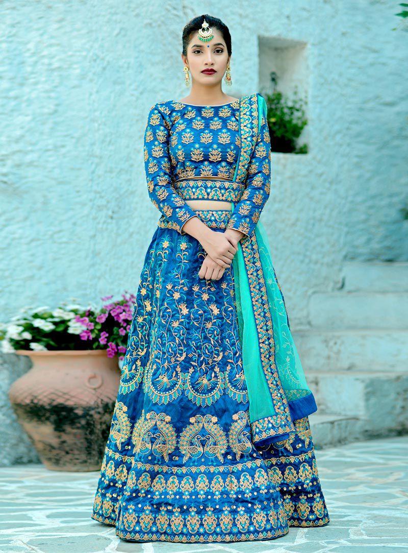 Buy Harbour blue silk Indian wedding lehenga in UK, USA and Canada