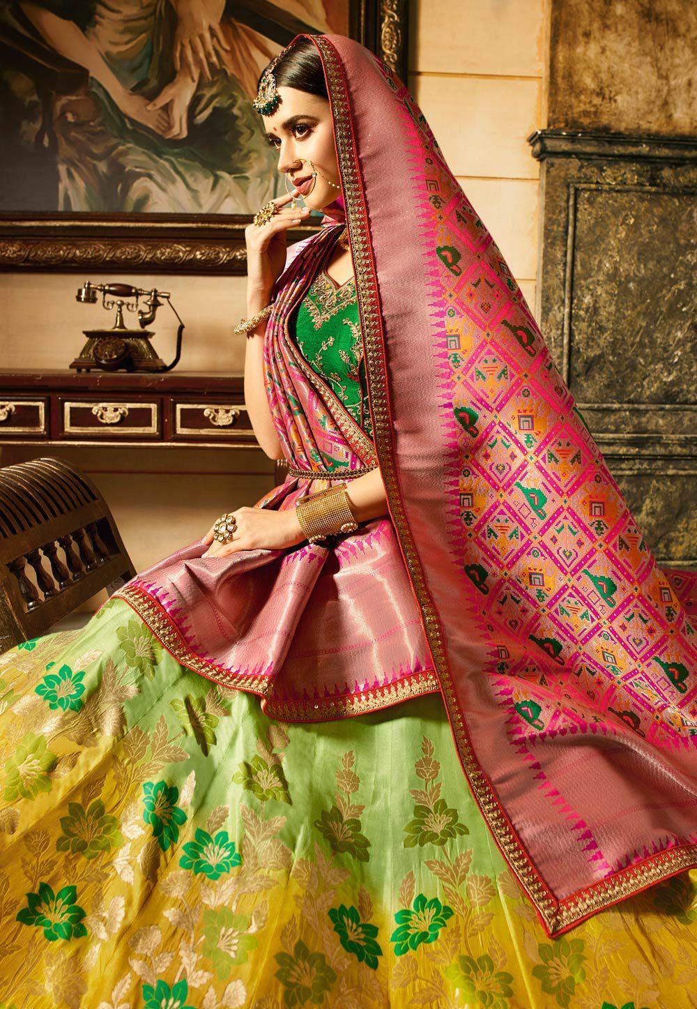 9b56f34211 Buy Green and yellow shaded banarasi silk Indian wedding lehenga in ...