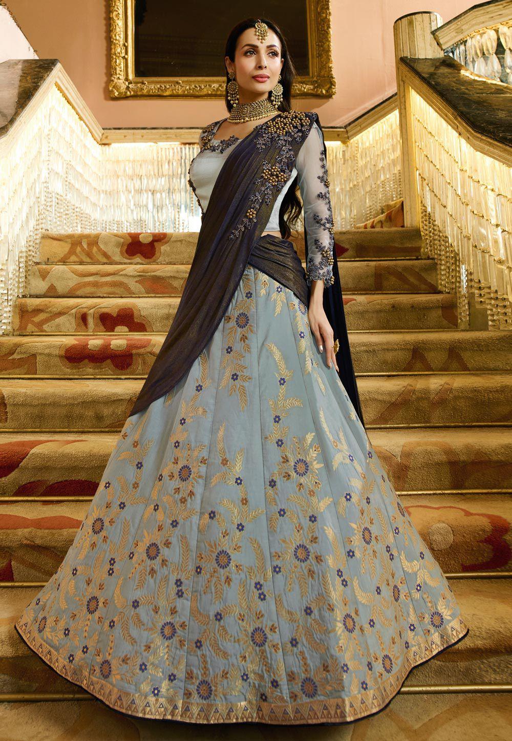 Buy Malaika Arora Khan Grey Banarasi Indian wedding lehenga in UK, USA and  Canada