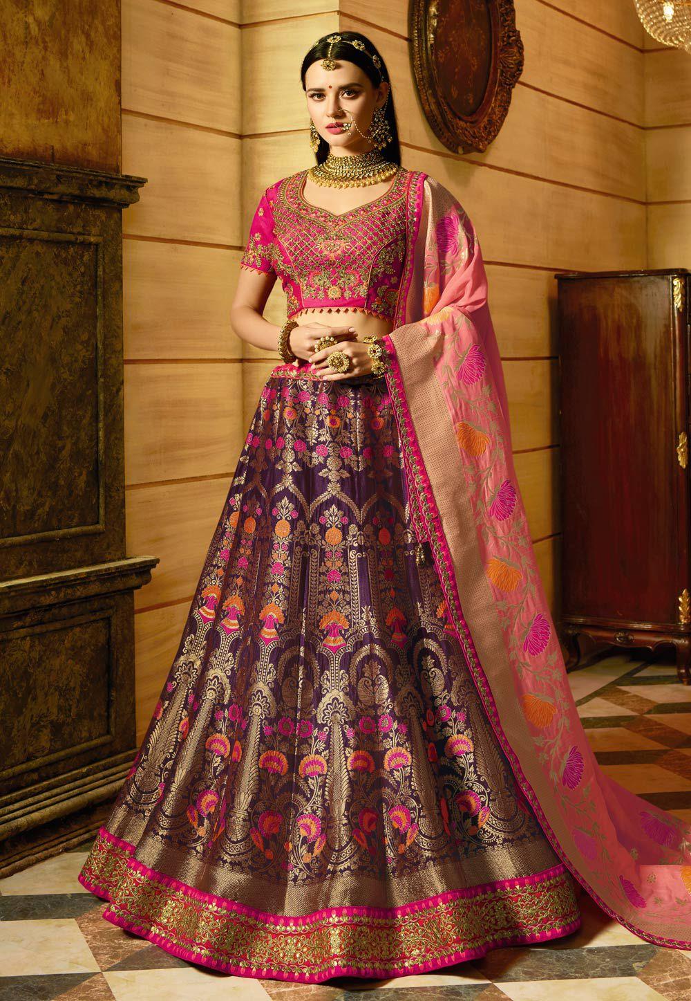 7af3efa2ed8ec Buy Purple and pink banarasi silk Indian wedding lehenga in UK, USA ...