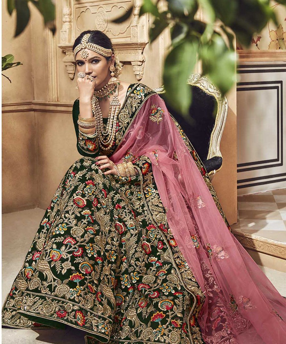 76009795b026 Dark green velvet embroidered heavy designer Indian wedding lehenga choli  4701