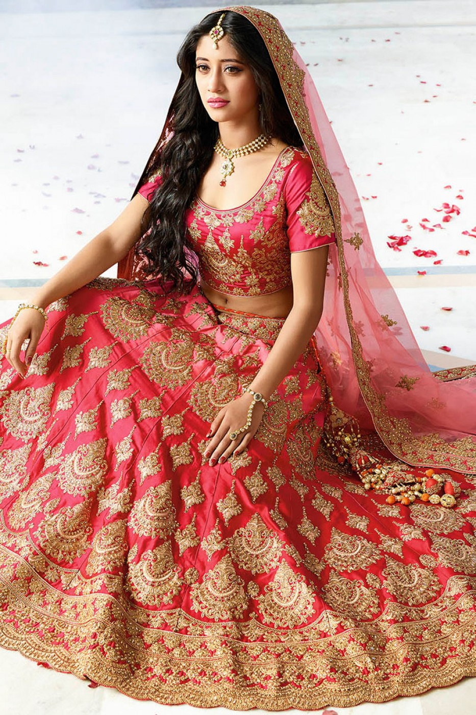 b784cf097f Pink color silk wedding lehenga choli Pink color silk wedding lehenga choli  ...