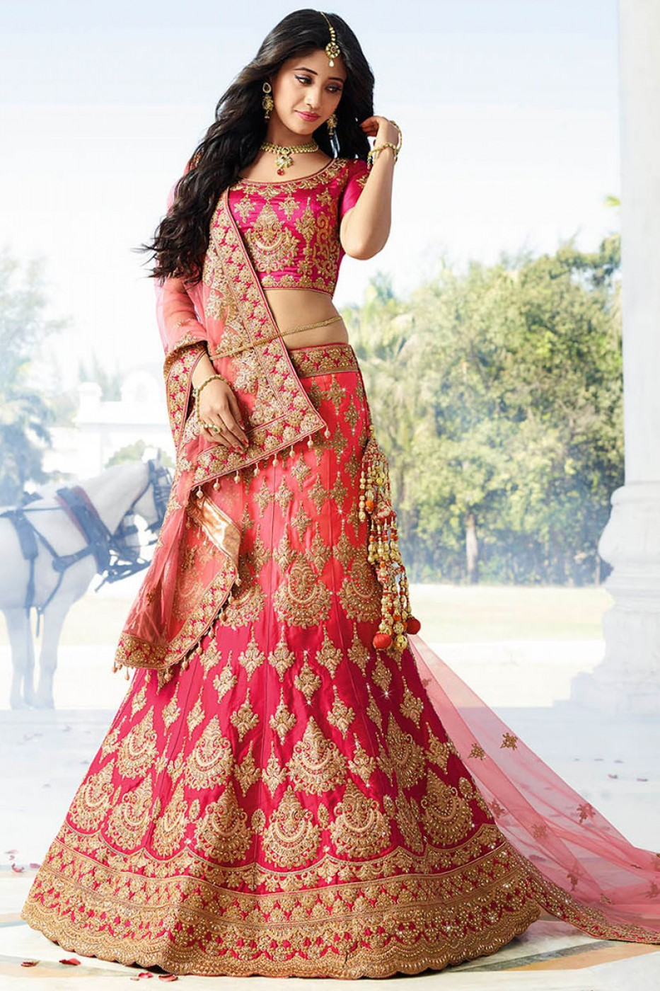 lehenga choli pink silk peach bridal satin tiptop classical usa