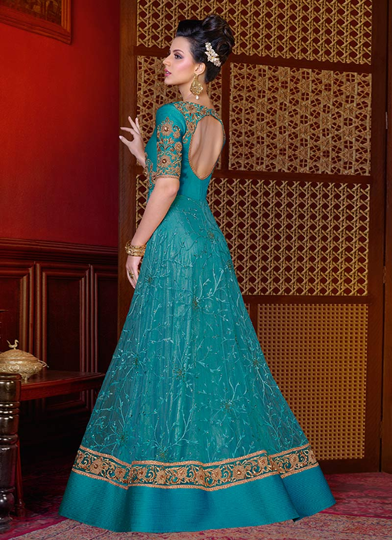 Buy Blue color net wedding anarkali in UK, USA and Canada