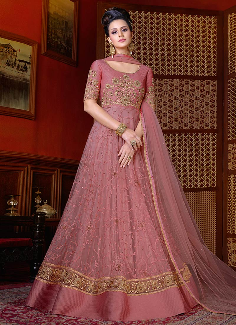 Buy Onion pink color net wedding anarkali in UK, USA and Canada