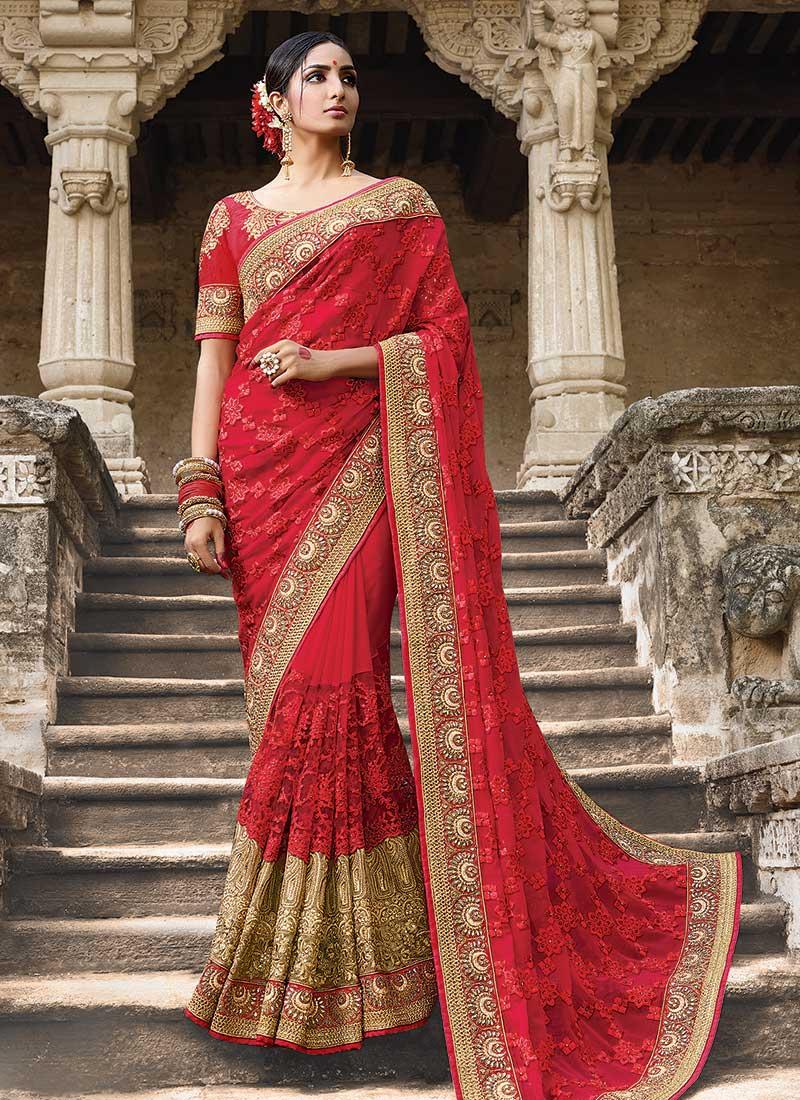 108e8fdb0e Party wear red georgette net saree 1951