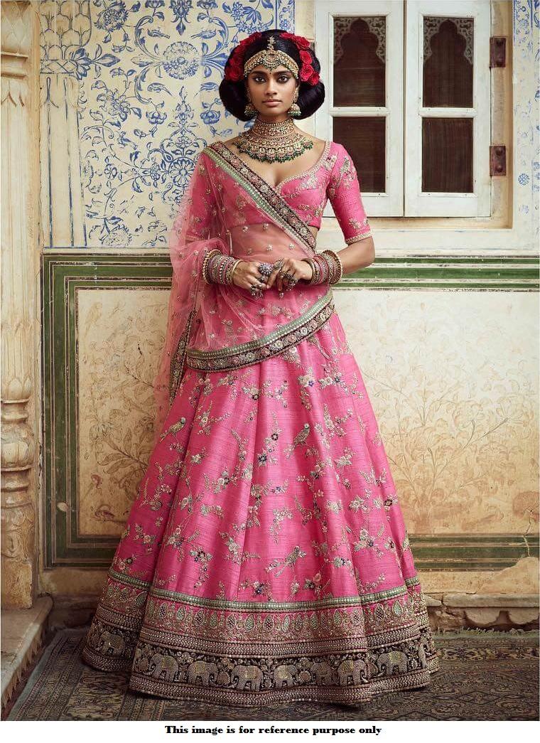 2629047476fe8 Buy Bollywood Sabyasachi Inspired Lotus pink banarasi silk wedding ...